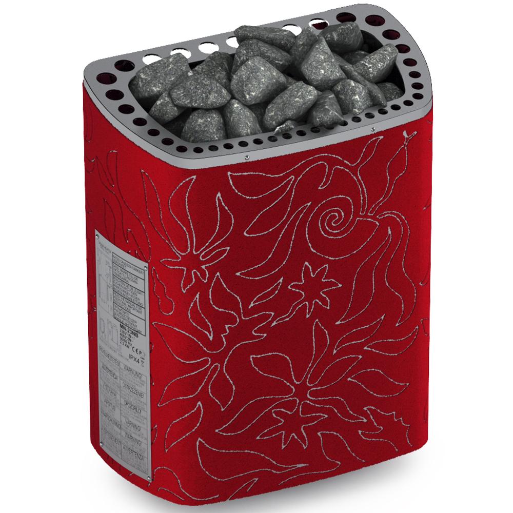 Sauna poêle électrique Sawo Minidragon 3.0kW, rouge, sans contacteur, sans unité de commande