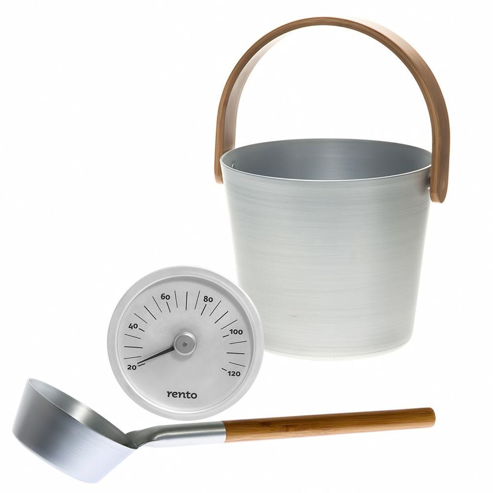 "Sauna Accessories Set ""Aluminum"", 3 parts with bucket"