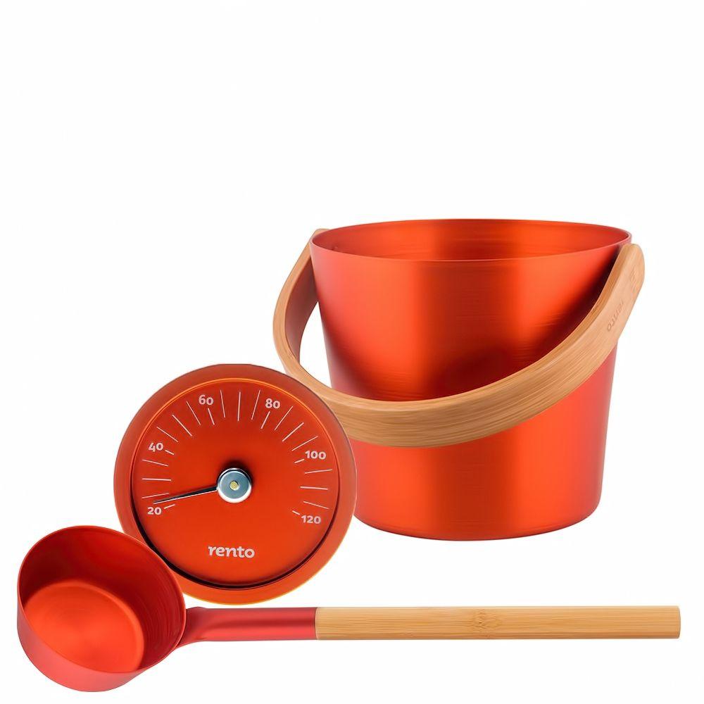 "Sauna Accessories Set ""Buckthorn Berry"", 3 parts with bucket"