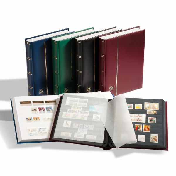 Stockbook COMFORT, Din A4, 32 black pages, padded cover, Burgundy