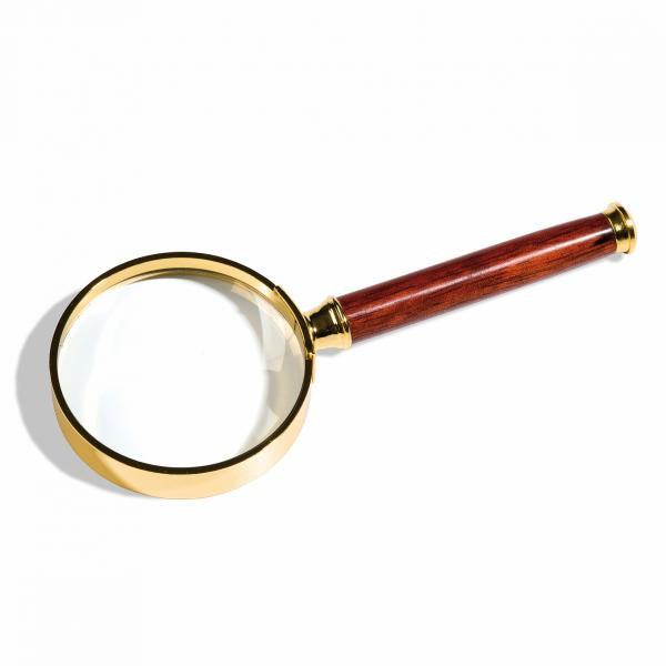 Handle Magnifier with glass lens, gold-plated metal rim, 2xmagnification, Ø 80 mm