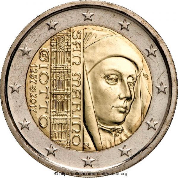 San Marino 2017 2 eur juubelimünt -Giotto 750. sünniaastapäev