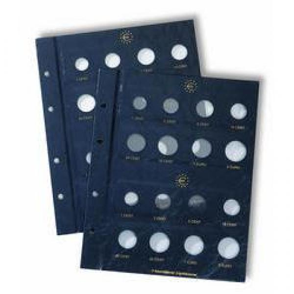 Coin sheets VISTA. For sets of eight euro coins in circulation. 2 sheets in set