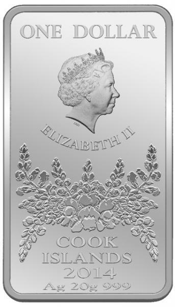 Ambur - Uus - Meremaa 1 $ 2014.a 99,9% hõbemünt, 20g