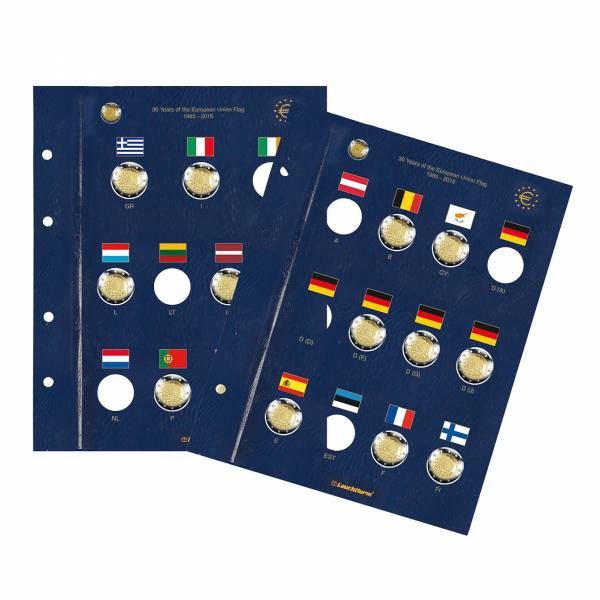 "Coin sheets VISTA, for 2-Euro coins ""30 years EU-Flagge"" - 2 sheets in set"
