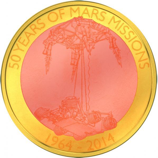 Hõljuv münt - Marsi missiooni 50  aastapäev  1964-2014- Samoa 1 $  münt. 60 gr