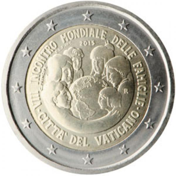2 € юбилейная монета 2015 г.  Ватикан -VIII Всемирная встреча семей в Филадельфии