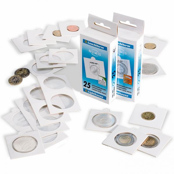 Coin holder Self-adhesive 25 mm, white
