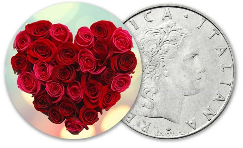 """""""Роза-символ любви"""" - медно-никилиевая монета в цвете - красные розы"""