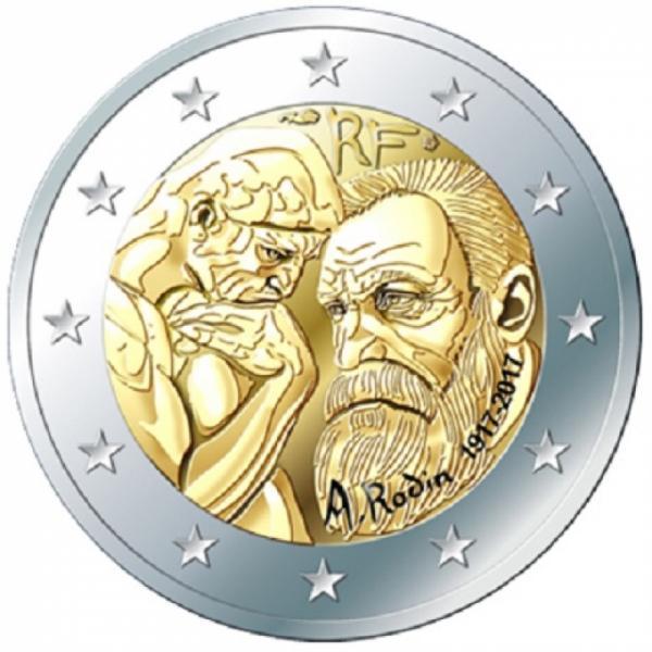 2 € юбилейная монета 2017  г.Франция - 100 лет со дня смерти Огюста Родена