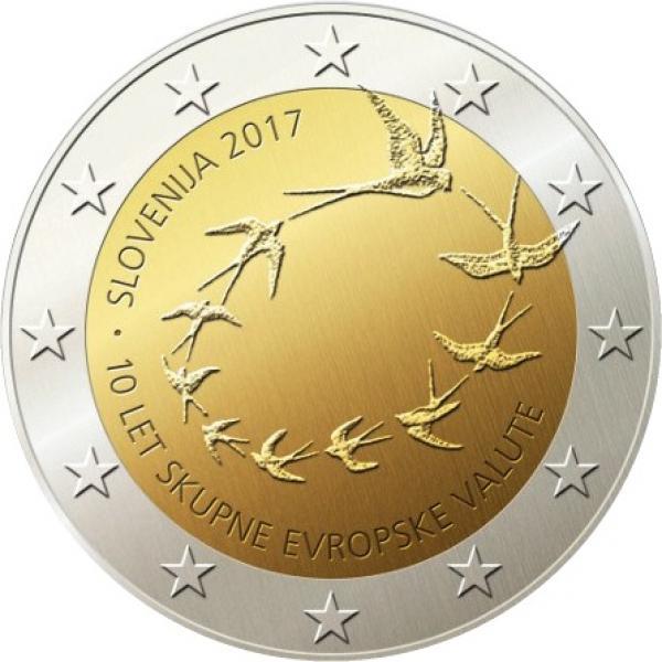 2 € юбилейная монета  2017 г. Словения  -10 лет евро в Словении