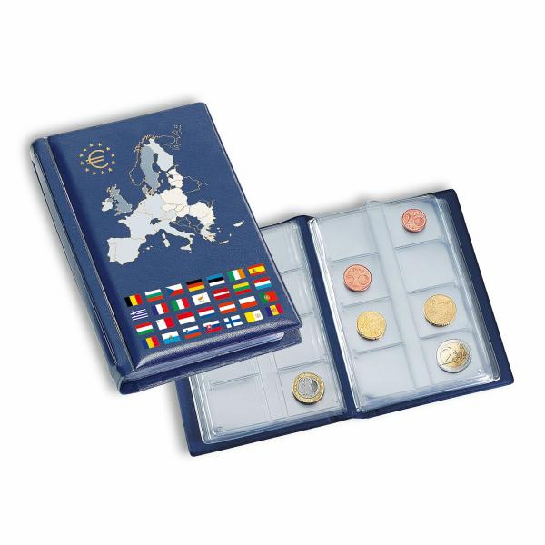Coin wallet with 12 coin sheets for 12 cimplete euro coin sets, Blue
