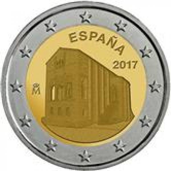 2 € юбилейная монета 2017 г.Испания  -Церковь Санта-Мария-дель-Наранко в Овьедо
