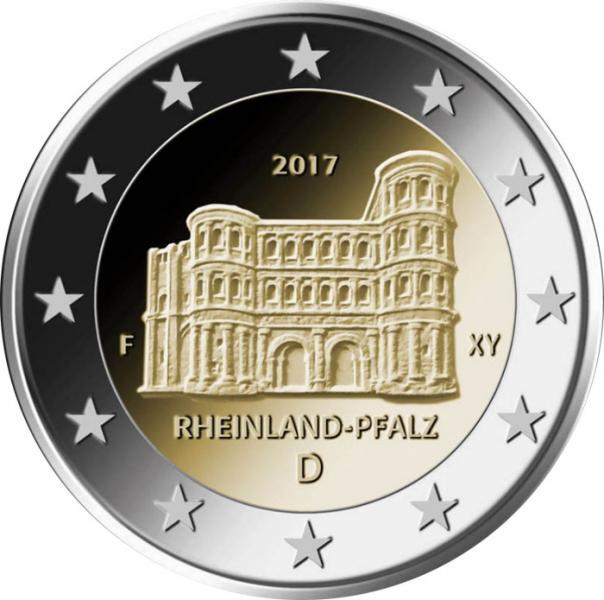 2 € юбилейная монета 2017 г. Германия - Рейнланд-Пфальц (Порта Нигра, г.Трир)