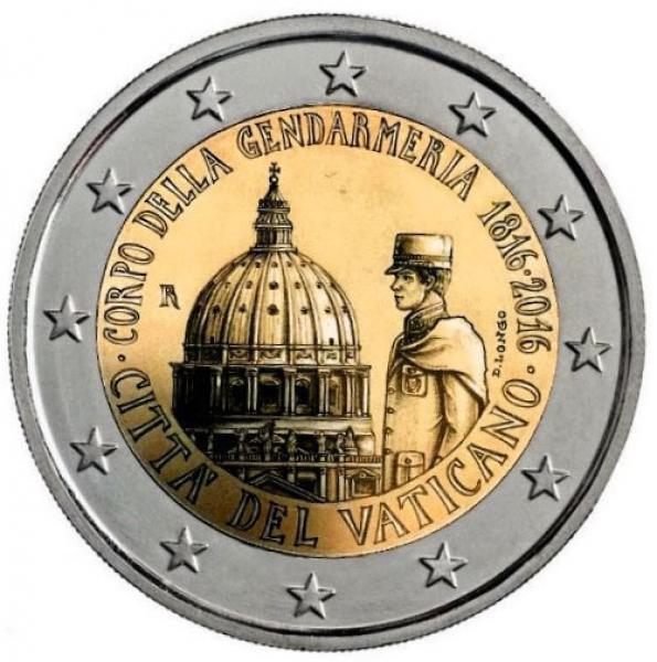 Vatikani 2 Eur 2016 juubelimünt - Vatikani Linnriigi Sandarmi 200. aastapäev