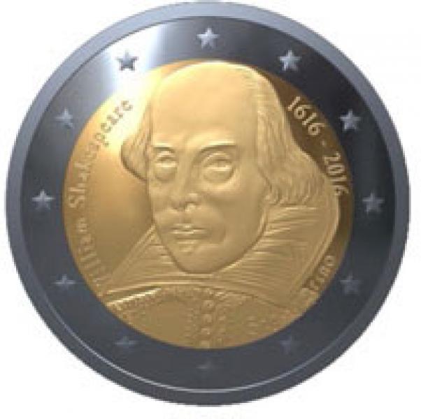 2 € юбилейная монета 2016 г. Сан -Марино- 400 лет со дня смерти Уильяма Шекспира