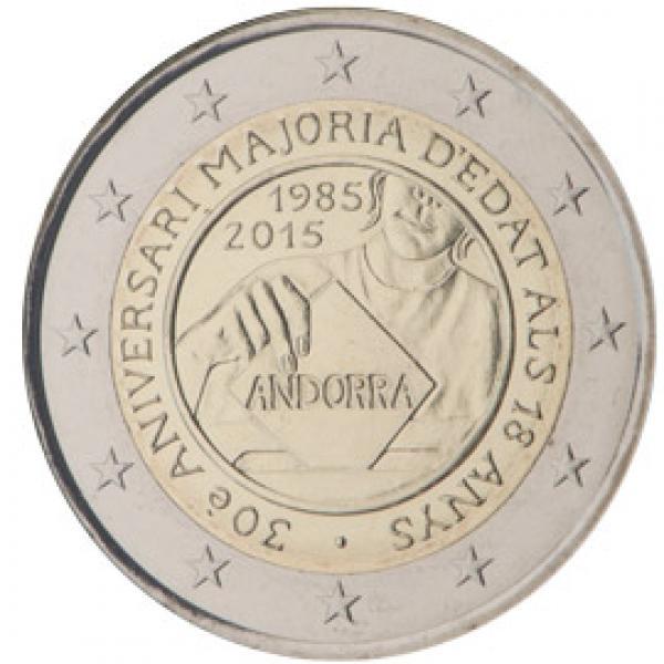 2€ юбилейная монета 2015 г. Андорра. 30-летие принятия возраста совершеннолетия в 18 лет.