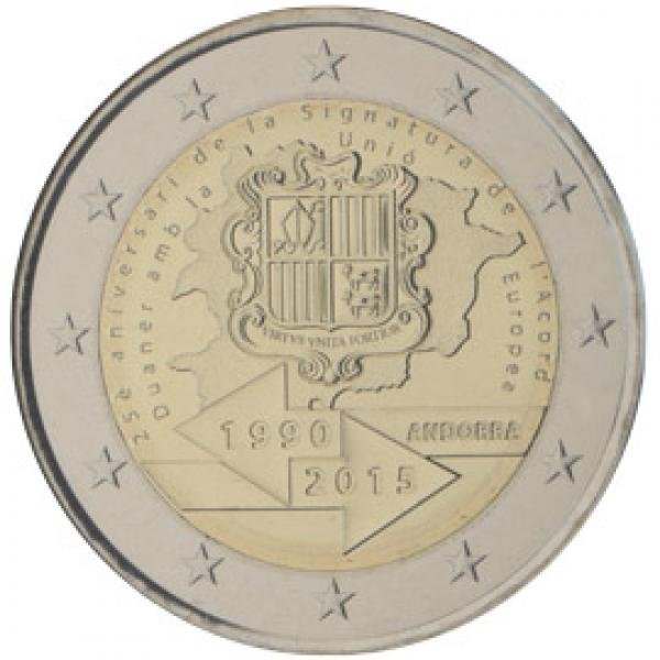 2€ юбилейная монета 2015.г.    Андорра. 25-летие подписания таможенного соглашения с ЕС.