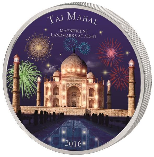 Taj Mahal - Elevandiluuranniku 2000 Fr 2018.a. värvitrükis  99,9% hõbemünt,  62,2 g