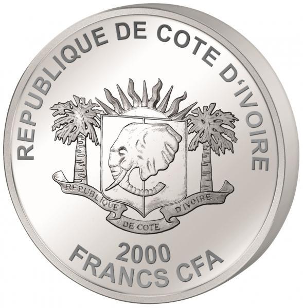 Тадж-Махал - Кот-д 'Ивуар 200 Fr 2016.г 99.9% серебряная монета с цветной печатью, 62.2 г