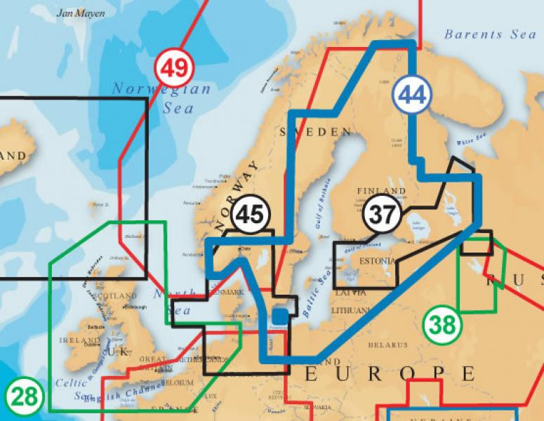 Merekaardid NAVIONICS PLUS 44XG Baltic Sea - meri + palju järvi