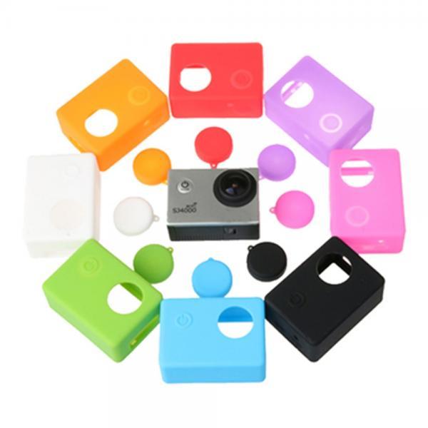 Kaameraümbris silikoonist EKENi, GoPro ja SJCAM seikluskaameratele, objektiivikattega, must