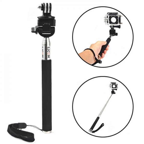 Teleskoopkäepide selfie´de tegemiseks EKENi, GoPro ja SJCAM seikluskaameratele, roostevaba, kummeeritud käepidemega