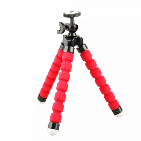 Käepide-kolmjalg EKENi, GoPro ja SJCAM seikluskaameratele, kummeeritud plastik roosade jalgadega