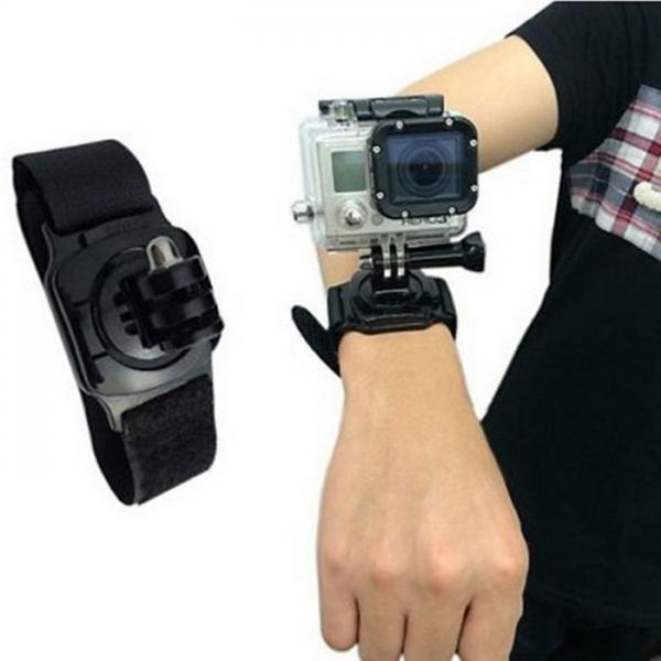 Kaamera käekinnitus EKENi, GoPro ja SJCAM seikluskaameratele, must plastik, takjapaelaga