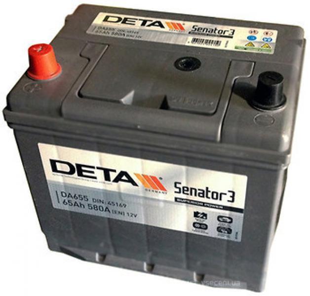 Käivitusaku DETA Senator3 65 Ah/12V teistpidi klemmid